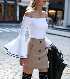 Streetstyle from soho: off-the-shoulder bell sleeve top with black piping, khaki double breasted mini skirt, black over-the-knee studded boots(Off The Shoulder Top With Boots) Modest Fashion, Fashion Outfits, Womens Fashion, Nyc Fashion, Fashion Trends, Street Fashion, Work Fashion, Unique Fashion, Fashion Ideas