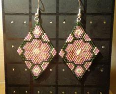 Earrings pendant handmade, Orecchini pendenti, Delica Miyuki, tecn.Brick Stitch