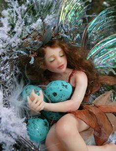 ≍ Nature's Fairy Nymphs ≍ magical elves, sprites, pixies and winged woodland faeries - Fairy finds a nest.