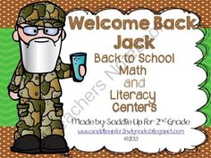 Welcome Back Jack! 11 Back to School Math and Literacy Centers from Saddle Up For 2nd Grade on TeachersNotebook.com (66 pages)  - Welcome Back Jack contains 11 Duck Dynasty themed math and literacy centers for back to school!