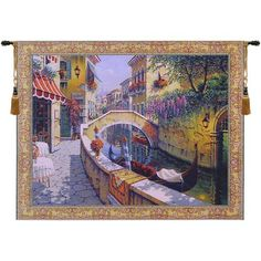 """Charlotte Home Furnishings Passage to San Marco by Robert Pejman Tapestry Size: 65"""" H x 87"""" W x 0.15"""" D"""