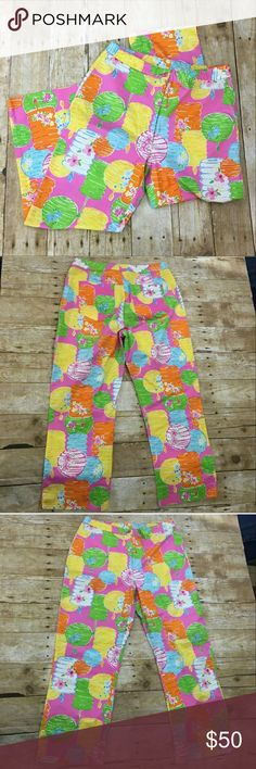 """Lilly Pulitzer Party Lights Capris Cropped Pants P Lilly Pulitzer """"Party Lights"""" Capri pants, size 2. 27"""" waist, 23"""" length, in excellent condition.   Smoke free home. I will gladly bundle items to give you a discount (the more you buy, the cheaper I can let everything go!). Many items can be added on for only $1.  MAKE AN OFFER! Lilly Pulitzer Pants Capris"""