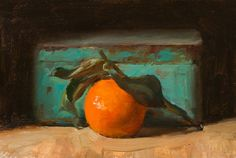 daily painting titled Clementine and blue tin - click for enlargement
