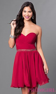 Ruched Strapless Corseted Homecoming Dress at PromGirl.com