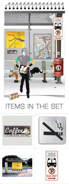 """""""Hot coffee at the bus stop"""" by kikilea ❤ liked on Polyvore featuring art"""