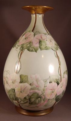 Divine American Belleek Cac Lenox Factory Decorated Large Morning Glory Vase