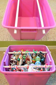 This normally plain and unassuming plastic storage bin carries a deep secret. ORNAMENT STORAGE!