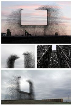 Non-sign II is an installation by the Seattle based art collective Lead Pencil Studio located at the Canada-US border near Vancouver. The sculpture is made from small stainless steel rods that are assembled together to create the negative space of a billboard. While most billboards draw attention away from the landscape, Non-sign II frames the landscape, focusing attention back on it.