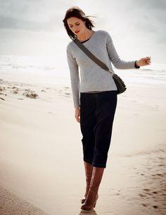 Boden 2012 Fall - Skye Jumper; Hamptons Tee; Modern Midi Skirt; Vintage Heeled Boots