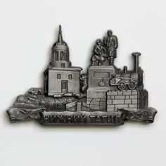 Metal Fridge Magnet: Russia. Nizhny Tagil. Hill of Fox and Monument to Cherepanovy (Silver Color)
