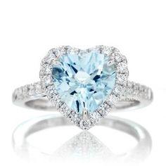 Heart 8x8 aquamarine engagement ring diamond halo
