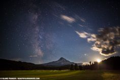 Milky Way Stars and Moonset over Mt Hood