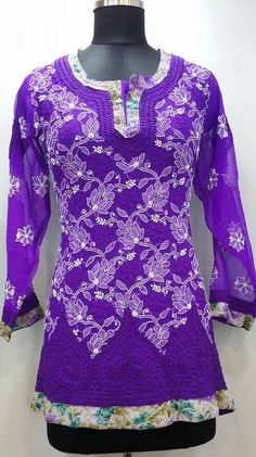 Lucknowi Chikan Short Top Baby Purple Georgette Rs. 1,795.00