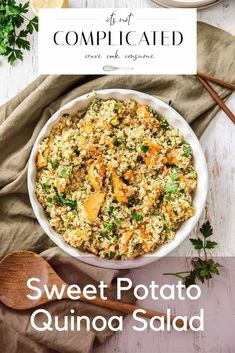 Learn how to make this delicious Sweet Potato Quinoa Salad. This gluten-free and vegan salad is flavoursome and so easy to prepare. Ideal lunch or side dish. Head to the blog to get more details and the recipe. Sweet Potato Quinoa Salad #quinoasalad #quinoarecipes #glutenfreesalad #sweetpotatorecipes #saladrecipes #easyrecipes #appetizerrecipes #itsnotcomplicatedrecipes #cravecookconsume itsnotcomplicatedrecipes.com Appetizer Recipes, Salad Recipes, Sweet Potato Quinoa Salad, Sweet Potato Recipes, Light Recipes, Main Meals, Side Dishes, Cooking Recipes, Gluten Free