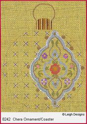 Leigh Designs - Hand-painted Needlepoint Canvases - Moghul India Dynasty Ornaments -  Chera Ornament/Coaster