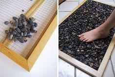 coole bastelideen für diy fußmatte aus steinen-basteln mit natursteinen - fresHouse