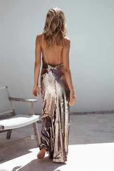Bronzed Sequin Dress - Dresses by Sabo Skirt | SABO SKIRT