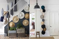 Erica and I are both avid hat collectors, each with a collection large enough that we're constantly grappling with proper ways to store them. I love the idea of hanging them on the wall as a method of storing and displaying them as art. All you need is a bare wall, in your closet, bedroom or