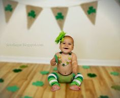 St. Patrick's Day photo shoot. 6 month baby pictures. St. Augustine Photography