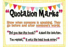 {FREE} Anchor Chart & Printable for Quotation Marks!
