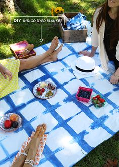 DIY indigo dyed picnic blanket with @Jacquard Products indigo vat kit- a great project for one of our table cloths!   http://www.dharmatrading.com/clothing/tablecloths-or-hangings.html