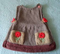 The most beautiful baby knitted vest and dress patterns - Knittting Crochet - knitting baby bag , The most beautiful baby knitted vest and dress patterns - Knittting Crochet The most beautiful baby knitted vest and dress patterns - Knittting Croche. Knit Baby Dress, Knitted Baby Clothes, Knitted Baby Blankets, Knitting For Kids, Baby Knitting Patterns, Knitting Designs, Baby Booties Free Pattern, Crochet Baby Booties, Crochet Bikini Pattern
