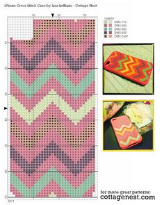 Free iPhone Chevron Cross Stitch Pattern from cottagenest.com
