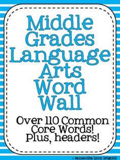English Language Arts Word Wall for Grades 7-12 24 pages ...