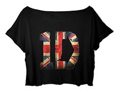 57ea2a4e4f051 ASA Women s Crop Top One Direction Shirt England Flag Design T-Shirt (Black)