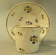 ANTIQUE EARLY DERBY PORCELAIN CUP & SAUCER C.1810