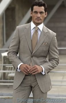 David Gandy...would prefer a more colorful tie except that the monochromatic styling does emphasize his face and its stunning bone structure.