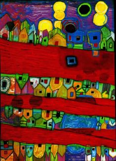 Red Streets - Friedensreich Regentag Dunkelbunt Hundertwasser (December 15, 1928 – February 19, 2000) was an Austrian artist (who later took on New Zealand citizenship). Born Friedrich Stowasser in Vienna, he became one of the best-known contemporary Austrian artists, although controversial, by the end of the 20th century.