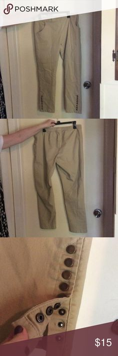 Khaki light brown pants snaps elastic waistband 👖 A pair of light brown khaki pants. My mom wore these a few times to work, but doesn't want them anymore. In good condition. The pants have an elastic waistband and eight snaps at the ends of the pant legs. salon studio Pants Straight Leg