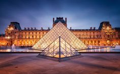 Louvre Pyramid by I. M. Pei in 1989.  Shows excellent use of shape, line and form.