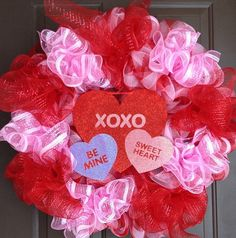 Valentines deco mesh wreath on Etsy, $70.00 CAD