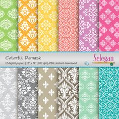 Colorful Damask, Digital Paper, Scrapbooking, Paper, 12x12, Printable, European, Pattern, Damask, Texture, Colorful, Royal, Background by Selegan on Etsy