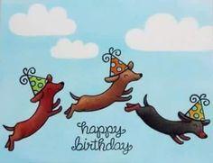 Lawn Fawn Dog Birthday Card by Mendi Yoshikawa Happy Birthday Pictures, Happy Birthday Messages, Happy Birthday Quotes, Happy Birthday Greetings, Birthday Greeting Cards, Happy Birthday Dachshund, Dog Birthday, Birthday Congratulations, Arte Dachshund