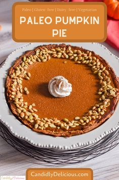 This delicious, creamy, smooth Paleo Pumpkin Pie is made with only wholesome, vegetarian ingredients. Gluten-free, Dairy-fee and Delicious Kosher Desserts, Kosher Recipes, Baking Recipes, Baking Ideas, Great Desserts, Delicious Desserts, Dessert Recipes, Paleo Dessert, Holiday Baking