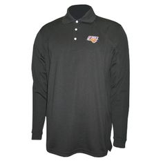 Ping black long sleeve shirt with three buttons and UNI logo on left chest. $59.99