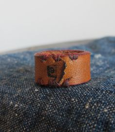Leather Ring Stamped 9 by NoeOsadaDesign on Etsy, $15.00