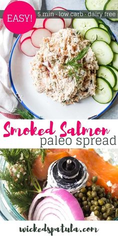 You'll want to slather this dairy free smoked salmon spread on all the crackers, radishes, and cucumbers that you can get my hands on. Easy Paleo Dinner Recipes, Best Gluten Free Recipes, Appetizer Recipes, Healthy Recipes, Paleo Appetizers, Delicious Appetizers, Healthy Snacks, Snack Recipes, Smoked Salmon Spread