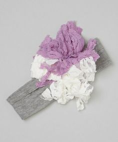 Love this Gray & Lavender Flower Lace Headband by Chicky Chicky Bling Bling on #zulily! #zulilyfinds