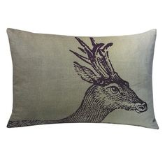 Kevin O'Brien Deer Pillow.  Bring rustic-chic style home with the Deer Pillow from Kevin O'Brien Studio. Hand-printed and dyed in Nepal, this plush down and feather throw displays an intricately detailed deer and warm country palette.