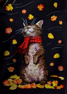 Celebrate Each New Day I Love Cats, Cute Cats, Funny Cats, Crazy Cat Lady, Crazy Cats, Autumn Art, Here Kitty Kitty, Illustrations, Pretty Cats