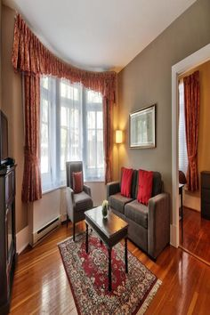 These beautiful Victorian houses in downtown Quebec City offer full apartments with separate bedrooms and an equipped kitchen. Free Wi-Fi is available in every apartment. The apartments are within close proximity to Grande Allée and Plains of Abraham.  The furnished accommodations at Apartment Hotel Quebec are equipped with flat-screen cable TV and a living room. Each apartment offers a private bathroom. Units available range from a 1-bedroom to a 4-bedroom. Rental Apartments, Vacation Apartments, Living Room Red, Thing 1, Quebec City, Victorian Homes, Dream Vacations, Ideal Home, Close Proximity
