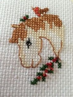 Completed Cross Stitch Christmas Card Horse 4x6in 2