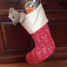 Christmas Stockings, Large Quality Padded and Lined, 55cm Long, Calico & Red Festive Bell by AeviternalCreations on Etsy