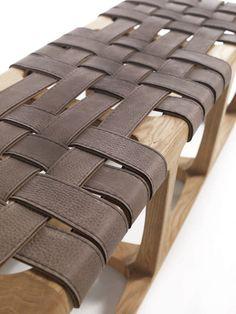 Banco de interior / moderno / de madera maciza / de cuero - BUNGALOW by Jamie Durie - Riva Industria Mobili