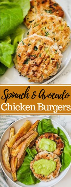 These paleo spinach avocado chicken burgers are a definitive sound burger. They're paleo, and AIP! Chicken Burgers Healthy, Ground Chicken Burgers, Beef Burgers, Chicken Avacado, Avocado Chicken Recipes, Spinach Burgers, Clean Eating, Healthy Eating, Healthy Fats