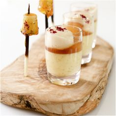 Tamarind Pears with Creamed Tapioca and Toffee Pear Lollipops. A quirky dessert with a festive spirit!